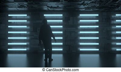 4K animation of man standing in front of a futuristic wall....