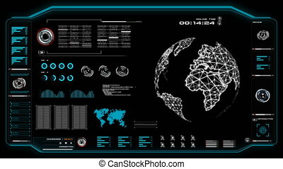 4K Animation of user interface HUD globe world moving on dark background for cyber futuristic concept with grain processed