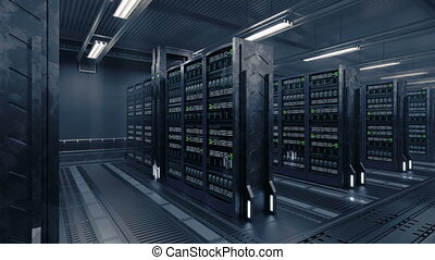 4k Animation presenting data center while working. - Perfect...