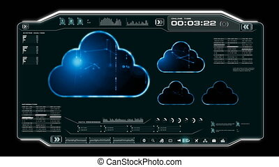 4K Animation UI User Interface with cloud computer data HUD...