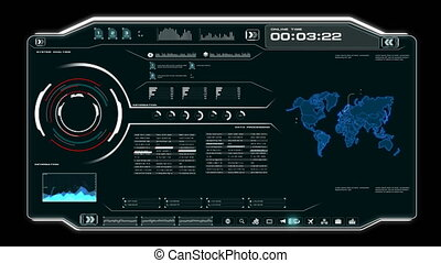 4K Animation UI User Interface with world map data HUD pi bar text box table and element on dark abstract background for futuristic technology concept