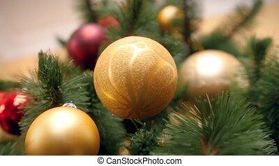 4k, arbre, doré, salle, métrage, vivant, tourner, branche, beau, closeup, bubable, noël, pendre