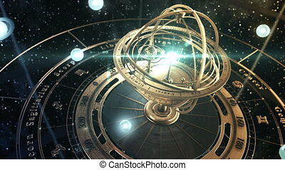 4K. Armillary Sphere And Zodiac Astrology Signs On Background Of Starry Sky. 3D Animation. Ultra High Definition. 3840x2160.