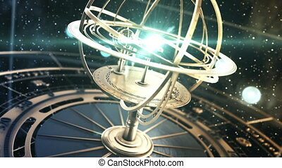 4K. Armillary Sphere And Zodiac Signs On Background Of Starry Sky. 3D Animation. Ultra High Definition. 3840x2160.