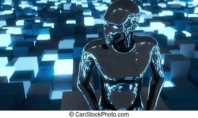 4K Artificial Intelligence AI overseeing data network....
