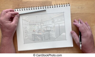 4k Artist Designer Watches Custom Kitchen Drawing Transitioning to Photograph on Pad of Paper.
