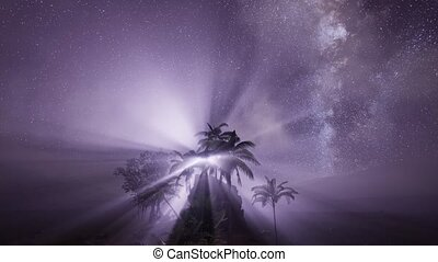 4K Astro of Milky Way Galaxy over Tropical Rainforest. ...