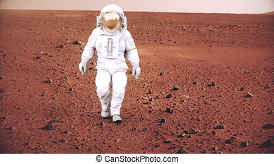 4K Astronaut on the surface of Mars. (Background elements furnished by NASA.)