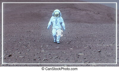 4K Astronaut on the surface of Mars. (Background elements...