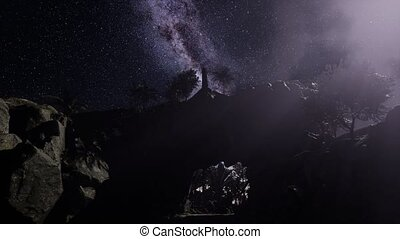 4K Astrophotography star trails over sandstone canyon walls