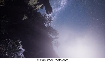 4K Astrophotography star trails over sandstone canyon walls....
