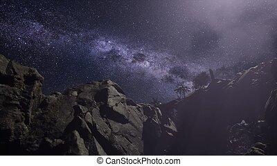 4k, astrophotography, stern verfolgt, aus, sandstein,...