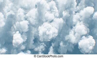 4k, au-dessus, sous, cloudscape, interminable, ultra, après-midi, réaliste, nuages, voler, beau, vol, soleil, sommet, lumière du jour, fait boucle, 3840x2160, vue, hd, seamless., sur, animation., 3d
