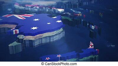 4K Australia - Asia flag Map - 4k Pan from Australia up to...