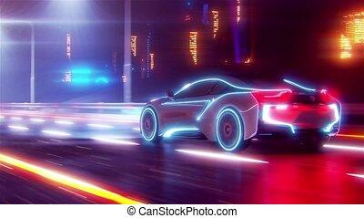 4k, avenir, animation, route, aller, voiture