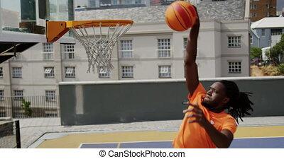 4k, basketball jouant, joueur