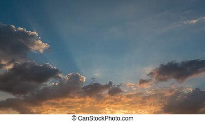 4K. Beautiful scenic sunset