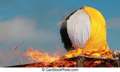 4K Belarus Burning Effigies Straw Maslenitsa In Fire Flame On Traditional National Holiday Dedicated To Approach Of Spring - Slavic Celebration Shrovetide.