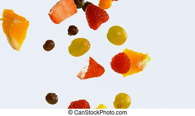 4k, biały, sałata, przeciw, spadanie, tło, owoc