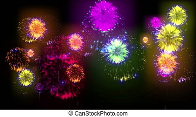 4K big beatiful firework at holiday night. 3d animation with different versions fireckrackers. version 9