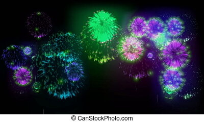4K big beatiful firework at holiday night. 3d animation with different versions fireckrackers. version 12