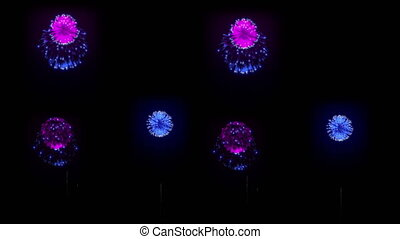 4K big beatiful firework at holiday night. 3d animation with different versions fireckrackers. version 19