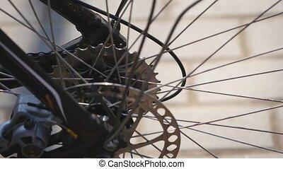 4K bike parts close up footage road bicycle brake pad background - break system mechanism on roadbike