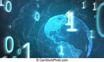 4k, binair, interface, globe, scherm, codes