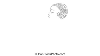 4K black outline woman robot on white background