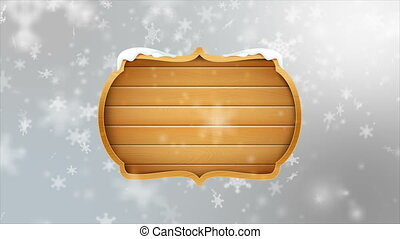 4K Blank wooden board sign with falling snowflake over gray abstract background for winter promotion and christmas celebration