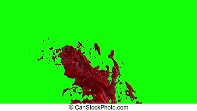 4k Blood Burst Slow Motion (Green Screen) 167