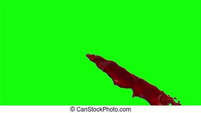 4k Blood Burst Slow Motion (Green Screen) 75