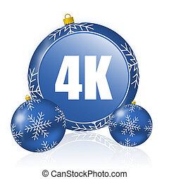 4k blue christmas balls icon