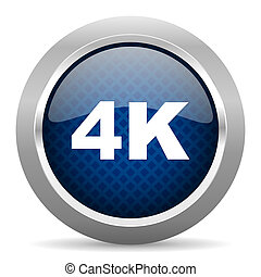 4k blue circle glossy web icon on white background, round button for internet and mobile app