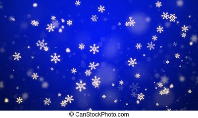 4k Blue Snowflakes background. Falling snow flakes loop Animation.