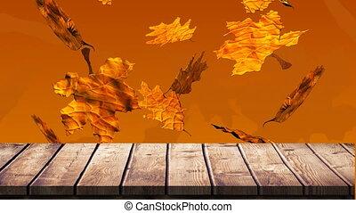 4k, bois, feuilles, planche, contre, automne