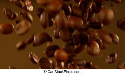 4k, café, fond, haricots, tomber, brun