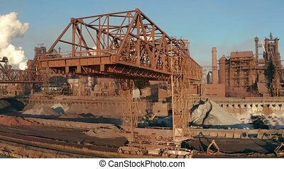 4k Camera motion view of Industrial working crane bridge.