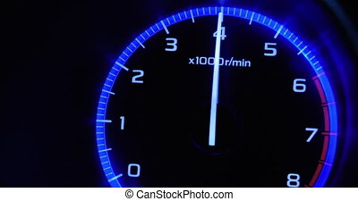 4K - Car acceleration. Tachometer front view
