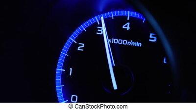 4K - Car acceleration. Tachometer side view