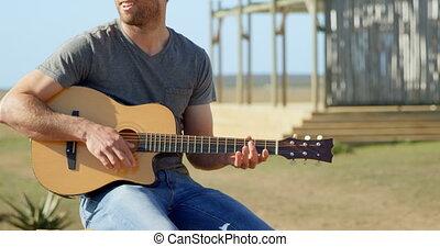 4k, caucasien, homme, ensoleillé, vue, jour, jeu guitare,...
