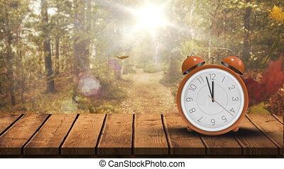 4k, clair, forêt, contre, horloge, automne