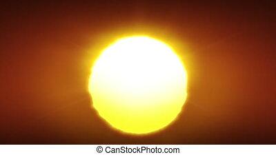 4k, clair, seamless., 4096x2160, déformation, animation., air, ou, rouge chaud, soleil, gros plan, beau, hd, levers de soleil, chaud, horizon, ultra, grand, au-dessus, coucher soleil, fait boucle