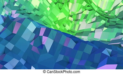 4k clean geometric animated background in loop, low poly style. Seamless 3d animation with modern gradient colors. Creative simple green blue background. 10