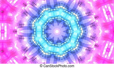 4k clean geometric kaleidoscopic animated background in loop, low poly style. Seamless 3d animation with modern gradient colors. Creative simple blue red background with round structure. 6