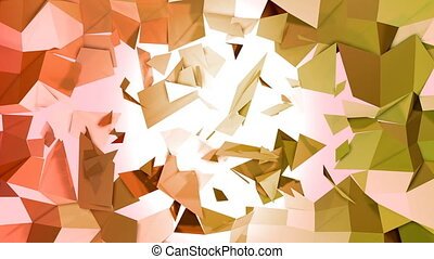 4k clean low poly 3d animation in loop. Seamless 3d background in modern geometric style low poly with bright gradient colors yellow orange. 3