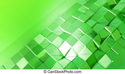 4k clean low poly 3d animation in loop. Seamless 3d background in modern geometric style low poly with bright gradient colors yellow green. Plane with copy space 1
