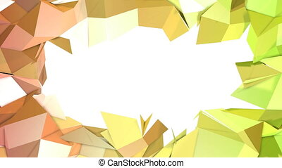 4k clean low poly 3d animation in loop. Seamless 3d background in modern geometric style low poly with bright gradient colors yellow orange. 2
