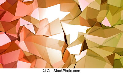 4k clean low poly 3d animation in loop. Seamless 3d background in modern geometric style low poly with bright gradient colors yellow orange. 1