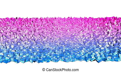 4k clean low poly animated background in loop. Seamless 3d animation in modern geometric style with modern gradient colors. Creative simple background. Red blue gradient colors 6